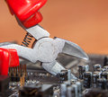 Inspection and repair of electronics background close up Royalty Free Stock Image