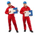 Inspector in red uniform and blue hardhat Stock Photography