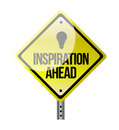 Inspiration ahead road sign illustration design over white Royalty Free Stock Photo