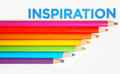 Inspiration concept colored pencils and word on white background Royalty Free Stock Photography