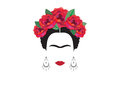 Inspiration Frida, portrait of modern Mexican woman with skull earrings, illustration with background transparent