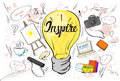 Inspiration Light Bulb Idea Creative Concept Doodle Sketch Hand Draw Background Royalty Free Stock Photo