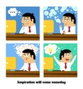 Inspiration will come business life or creative idea vector illustration Royalty Free Stock Images
