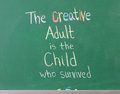Inspirational artistic phrase written chalkboard showing creativity Stock Photos