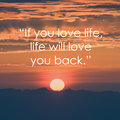 Inspirational life quote quote on sunrise background motivational background inspiration words Royalty Free Stock Photo