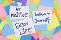 Inspirational phrases be positive believe in yourself enjoy life motivational notes papers Royalty Free Stock Photography