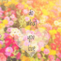 Inspirational quote on blurred flowers background Royalty Free Stock Photos