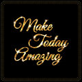 Inspirational quote design in shiny golden lettering