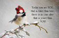 Inspirational quote about individuality by dr suess with a cute chickadee wearing his christmas hat during a snowstorm Royalty Free Stock Photography
