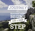 Inspirational quotes. The journey of a thouthand miles begins with a single step Royalty Free Stock Photo