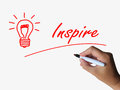 Inspire and lightbulb refer to inspiration referring motivation influence Royalty Free Stock Photo