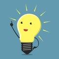 Inspired lightbulb character Royalty Free Stock Photo