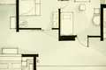 Inspiring black and white watercolor and ink illustrative material showing condo apartment flat partial floor plan suitable for Stock Images