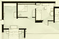 Inspiring black and white watercolor and ink illustrative material showing condo apartment flat partial floor plan suitable for Royalty Free Stock Photography