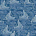 Inspiring seamless pattern with ships and the sea waves Royalty Free Stock Photo