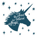 Inspiring unicorn silhouette with positive phrase lettering magic vector concept Royalty Free Stock Photo