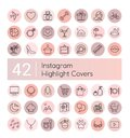 Instagram highlight vector illustration icons set, social media instagram collection of pink flat line covers for female