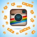 Instagram logotype camera on pc screen. Instagram - free application for sharing photos a social network.
