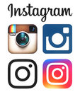 Instagram old and new logos and icons printed on white paper Royalty Free Stock Photo