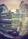 Instagram style fisheye lens night view of Manhattan, NYC. Royalty Free Stock Photo