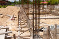 Install rebar and formwork for beam column in construction site Royalty Free Stock Image