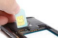 Install sim card Stock Photography