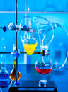 Installation for a chemistry experiment in a university laboratory Royalty Free Stock Photos