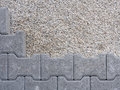 Installation of a floor self locking gray concrete permeable flooring assembled on substrate sand Stock Photo