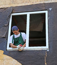 Installation of plastic windows in the frame house Stock Photo