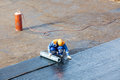 Installation of waterproofing flat roof repair Royalty Free Stock Photo