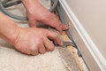 Installing insulation a man pulls back carpet in order to install under the molding Royalty Free Stock Image