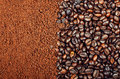 Instant coffee vs coffee beans ness and naural background texture Stock Photos