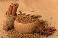 Instant coffee in a wooden pot on a burlap sack Royalty Free Stock Photo