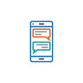 Instant messaging client for smartphones line icon, sms chat outline vector logo illustration, linear pictogram isolated on white.
