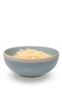 Instant noodle in a bowl on white background, empty space for de Royalty Free Stock Photo