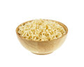 Instant noodle in a bowl wooden on white background Royalty Free Stock Photo