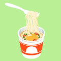 Instant noodle cup add egg Royalty Free Stock Photo