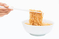 Instant noodle quickly cooking for eat cuisine Royalty Free Stock Images