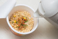 Instant noodle quickly cooking for eat cuisine Royalty Free Stock Image