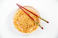Instant noodles in dish on white background Stock Image