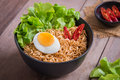 Instant noodles with egg in bowl Royalty Free Stock Photo