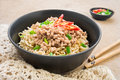 Instant noodles with pork in bowl black Stock Photo