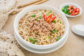 Instant noodles with pork in bowl white Stock Photo