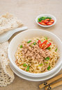 Instant noodles with pork in bowl white Royalty Free Stock Photo