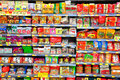 Instant noodles on supermarket shelves Royalty Free Stock Images