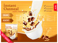 Instant oatmeal with chocolate advert concept. Milk flowing into