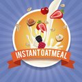 Instant oatmeal label Royalty Free Stock Photo