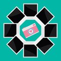 Instant photo circle with camera camera in flat design style love card vector illustration Stock Photography
