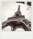 Instant photo of  The eiffel tower in black and white Royalty Free Stock Photo