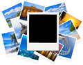 Instant photo frame over traveling pictures isolated on white Royalty Free Stock Photo
